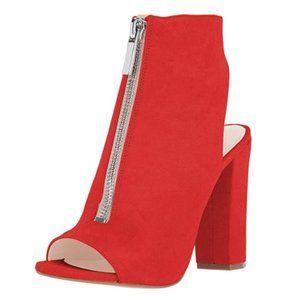 FSJ Peep Toe Ankle Boots Slingback Chunky Heels
